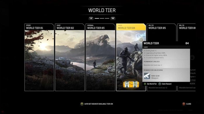 Outriders menu screen showing the World Tiers available to the player
