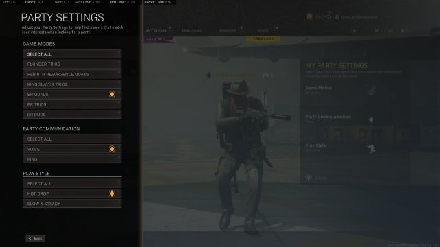 Warzone looking for party filters