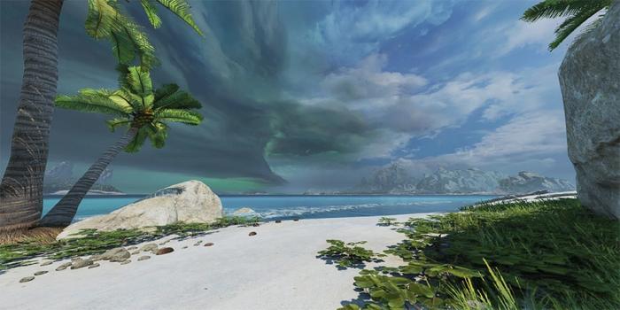A white sand beach with a single palm tree. The ocean glistens a beautiful blue.