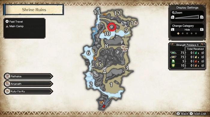 Monster Hunter Rise sub-camp shrine ruins locations