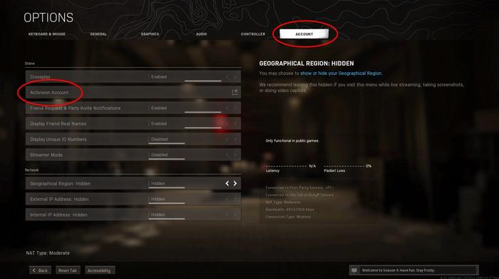 Warzone Account options