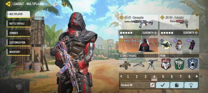 This image contains the an AK-47 custom loadout build with three perks to use in COD: Mobile multiplayer mode.