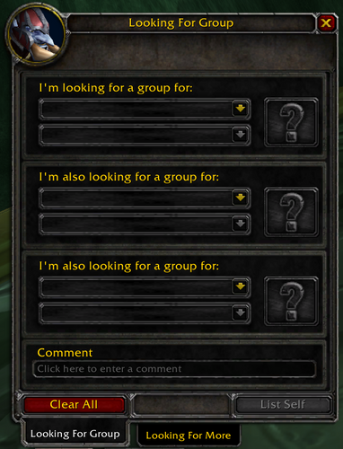 The Looking For Group Finder on the PTR that will be coming in Phase 2 of The Burning Crusade Classic