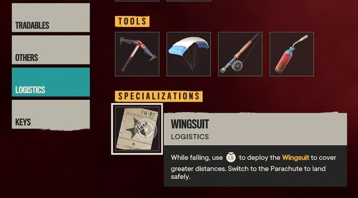 The Wingsuit in the Inventory under Logistics and Specializations.
