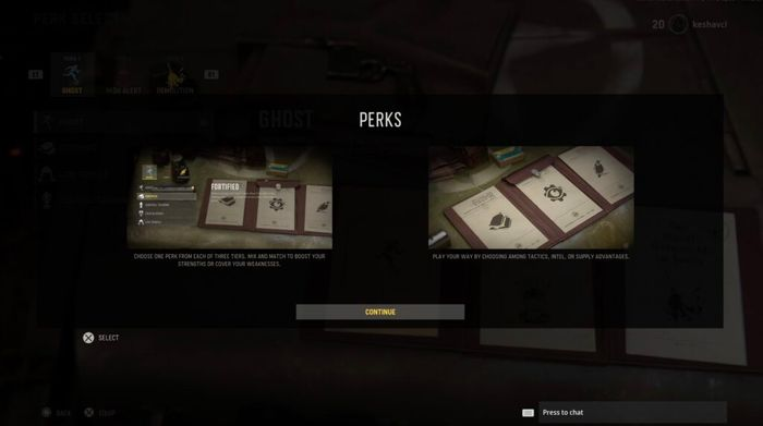 Message Box Showing Information On Vanguard's Perks