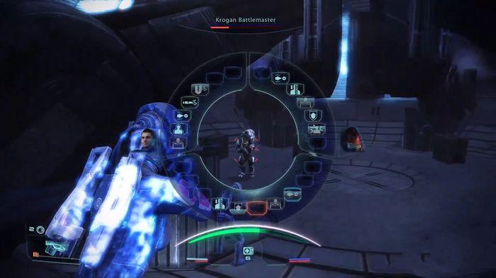 Screenshot of Mass Effect Legendary Edition. The Korgan Battlemaster is almost dead.