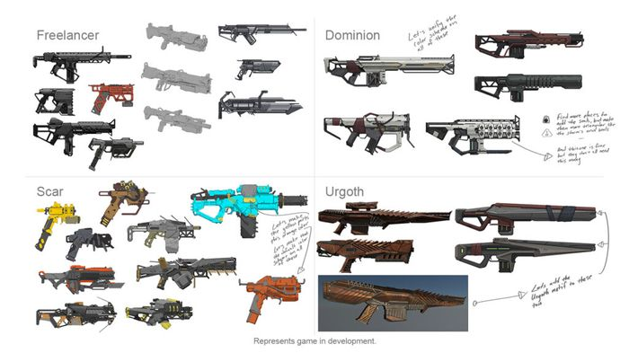 A selection of new weapon designs from Bioware