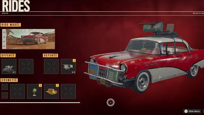 The Rides menu in Far Cry 6.