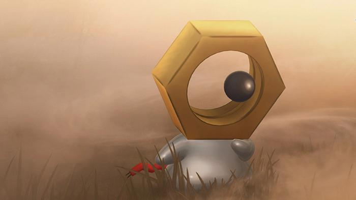 A small silver and gold Meltan looks a little confused, with dust swirling around it.