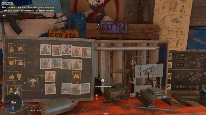 A Resolver Workbench at Clara's Camp in Far Cry 6.