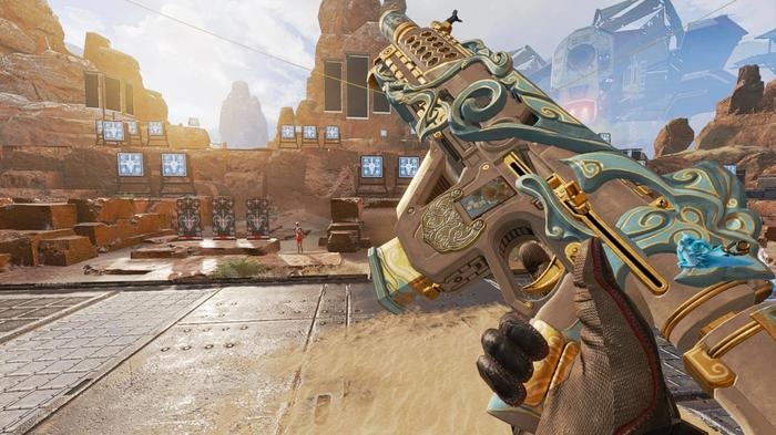 A blue, white, and gold Volt SMG being shown against a desert background with red training dummies.