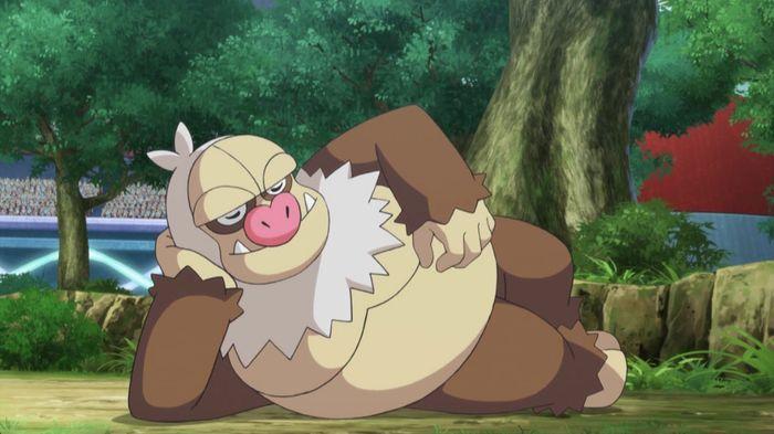 Slaking as seen in the Pokemon anime.
