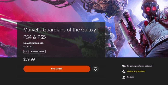 Screenshot of PlayStation's pre-order site for Guardians of the Galaxy