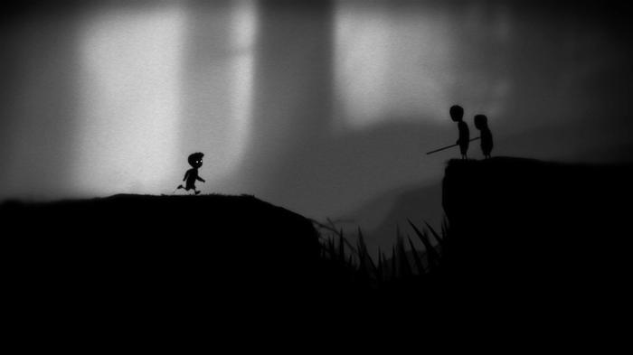 Screenshot from Limbo, showing the protagonist running towards two people on the other side of a gulf