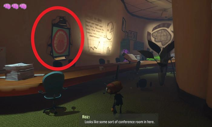 The location of the Hatbox, with a poster circled in red. The Emotional Baggage is hidden behind it.