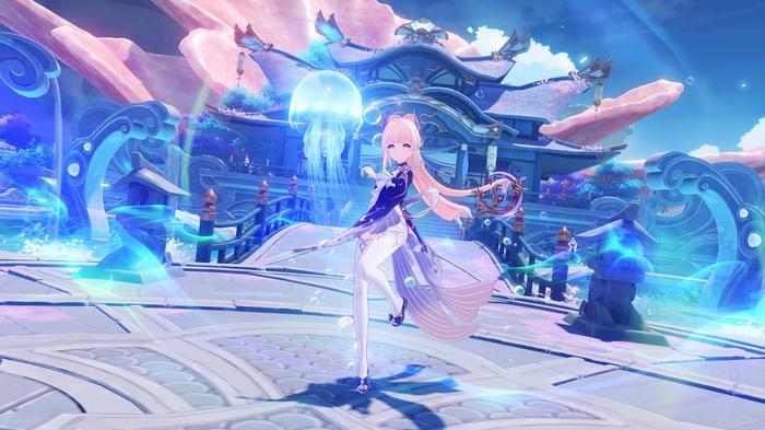 Genshin Impact character, Kokomi, with her Bake-Kurage jellyfish