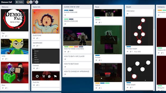 How to access the Demonfall Trello board to see upcoming updates and features.