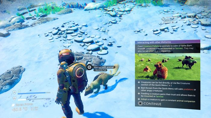 adopting a creature in No Man's Sky. An information box is displayed on screen, detailing the pet's associated menus