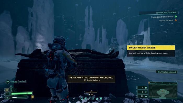 Selene unlocks the Hadal Ballast upgrade in Returnal, allowing her to reach underwater areas