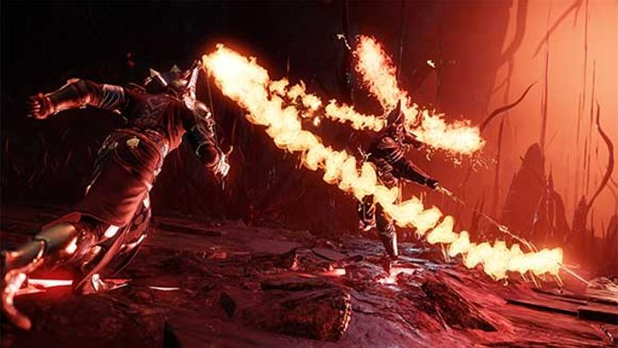 Character Sprinting at an enemy swinging a flaming sword