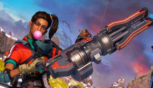 Rampart shows off her minigun, Sheila, while blowing pink bubblegum.