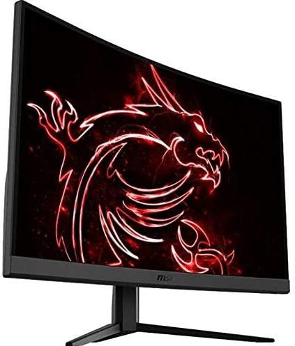 The MSI gaming monitor is pictured with a neon dragon displayed on it.