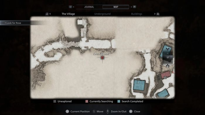 A map showing the location of the Luiza's Key Lockbox in Resident Evil Village.