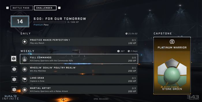 The challenges screen for Halo Infinite's progression system, showing daily and weekly challenges on screen.
