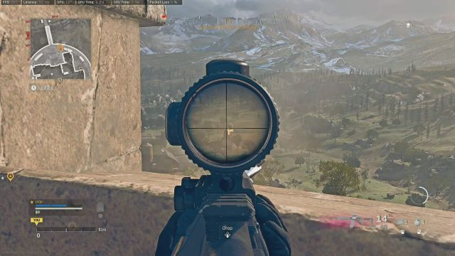 View of Axial Arms 3x Warzone Optic Zoomed In