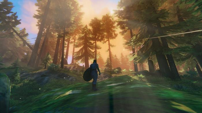 A player cresting a hill in the Forest area of Valheim. The sun shines through the trees above.