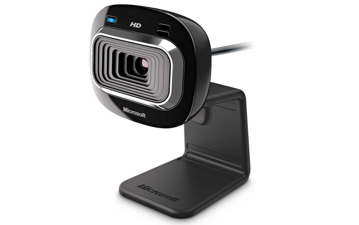 best webcam, product image of a black webcam with plastic stand