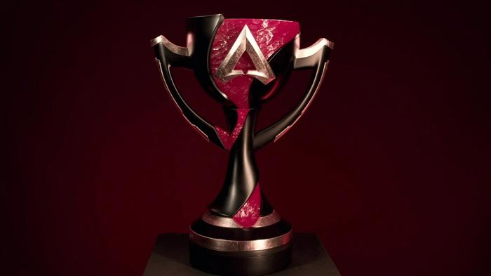 The ALGS Championship trophy, a red and black goblet, against a dark red background.