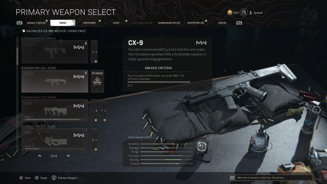 CX-9 SMG Warzone Weapon Select Menu