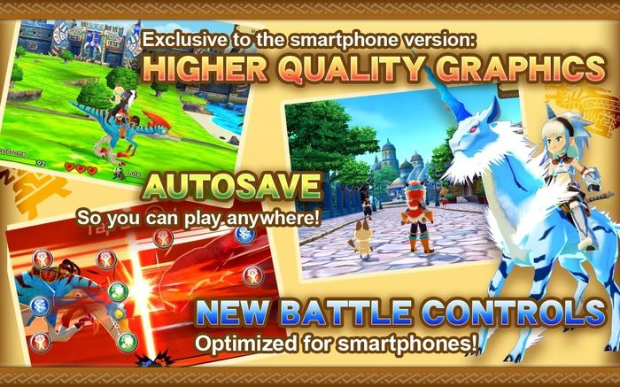 A promotional screenshot of the Monster Hunter Stories mobile port on iOS and Android showing HD remastered graphics.