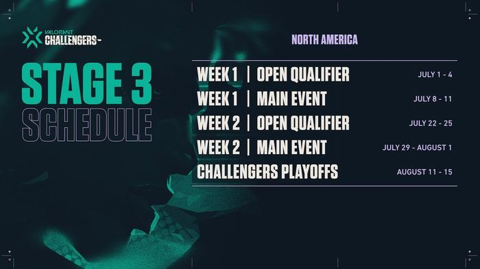 Valorant Challengers Stage 3 Schedule (Image via Riot Games)