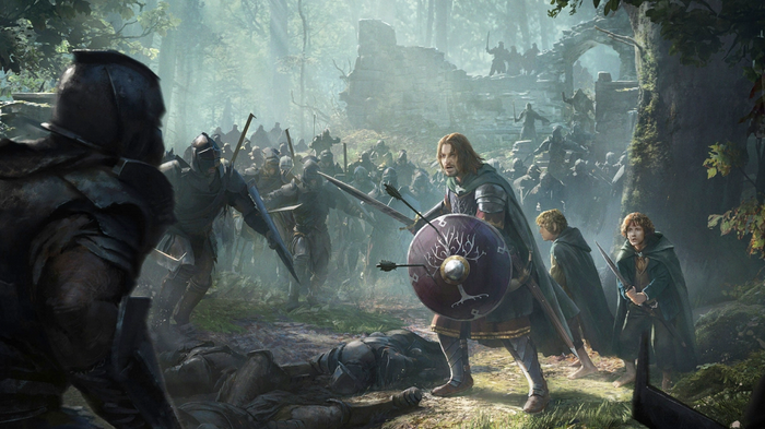 Screenshot from The Lord of the Rings: Rise to War, showing the fellowship in battle