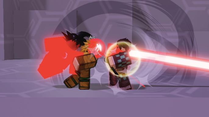 Screenshot from Shonen Smash, showing Roblox characters fighting one another