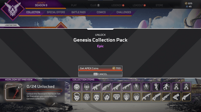 Apex Legends Genesis Collection Pack Price