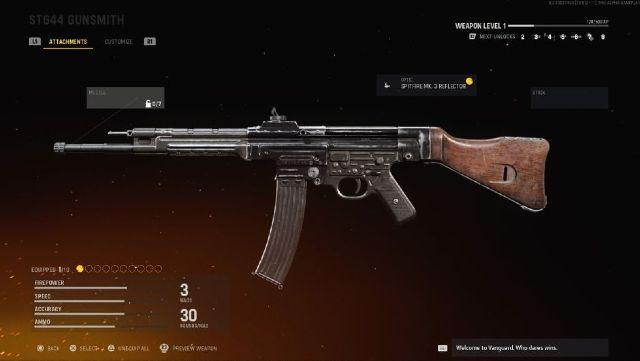Screenshot showing an STG 44 Assault Rifle In The Vanguard Gunsmith