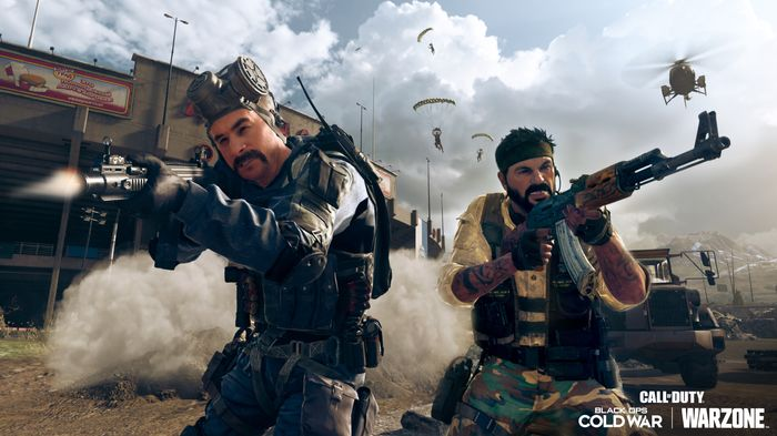 Captain Price and Frank Woods fire off rounds in Black Ops Cold War
