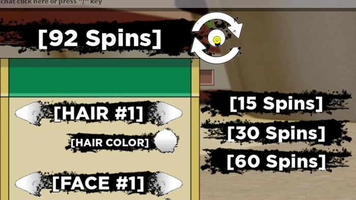 A screenshot showing how to get more spins in the Shindo Life game in Roblox.