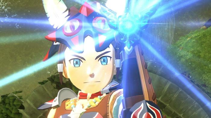 A Rider Activates the Kinship Stone in Monster Hunter Stories 2. Holding it up to the camera, Blue light shines out in all directions from the bracelet it is housed in.