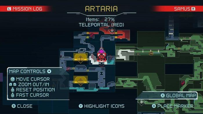 A map of the red teleportation point in the Artaris region of Metroid Dread