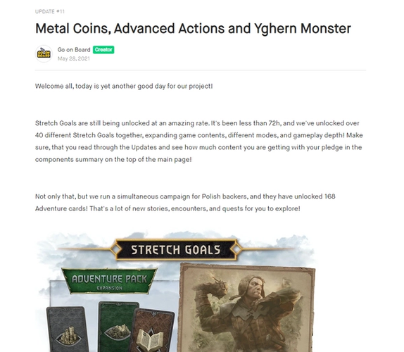 One of the Stretch Goals for The Witcher: Old World.