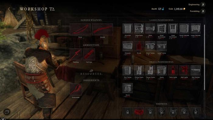 An armoured man creating furniture at a crafting table.