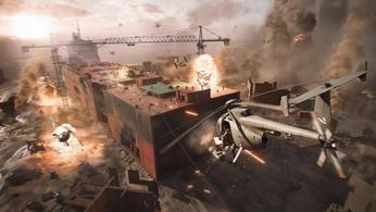 A Battlefield 2042 helicopter shoots at a bunch of soldiers battling on the rooftop.