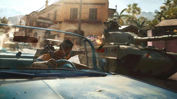 Dani fires out from the window of a convertible car, at a tank that's driving alongside