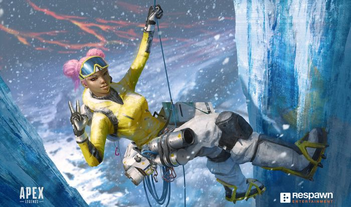 Lifeline from Apex Legends Mobile hangs from an icy cliff and gives the peace sign to the camera.