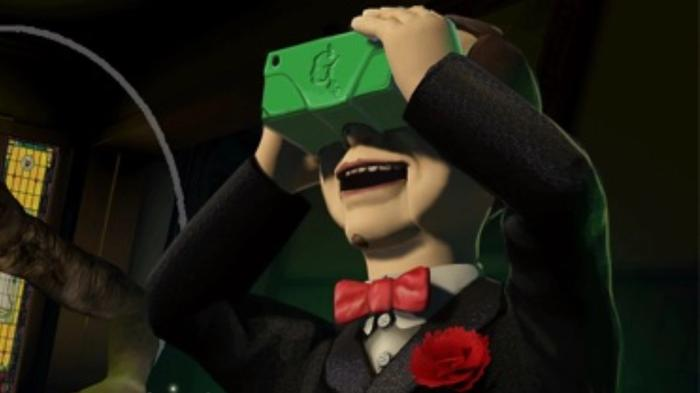 Screenshot from Goosebumps, showing Slappy the Doll wearing a VR headset