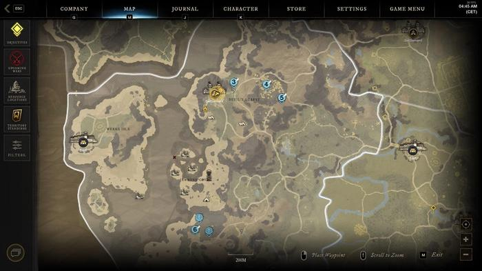 A map showing multiple quests accepted at once.